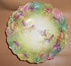 S & T RS Germany Hand Painted Floral Fluted Fruit Bowl