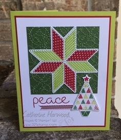Christmas card I made using Stampin' Up's! Christmas Quilt and Quilt Builder Framelits