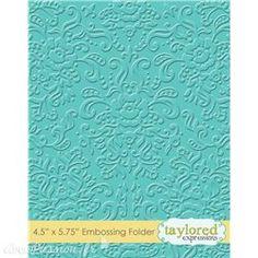 Classeur gaufrage embossage fond damassé taylored expressions 1p    Découpe et gaufrage pour vos faire part et cartes de scrapbooking avec les dies