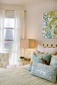 Beachy Guest Room ~ love how furnishings are neutral allowing pillows & artwork to be showcased