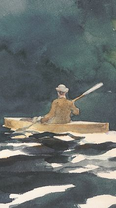 Winslow Homer - Paddling at Dusk (Detail), 1892. Watercolor with graphite on wove paper