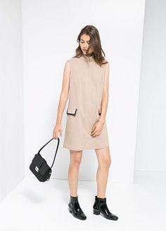 Funnel neck dress - Women | MANGO