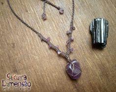 Colar de macramê, pedra natural, Ametista, pedra rolada Macrame necklace, natural stone, Ametiste, tumbling stone