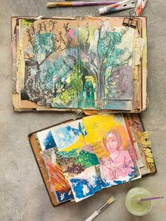 Cait Sherwood's painted and collaged art journal pages are emblematic of her intuitive art process. Learn more about Cait's background, her creative process, and how art journaling influences her other work. Art Journaling, Art Journal Pages, Watercolor Art Diy, Watercolor Art Paintings, Portrait Paintings, Abstract Portrait, Painting Abstract, Acrylic Paintings, Painting Art