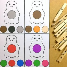 ghost color clip cards for preschool and kindergarten Circle Time Activities, Early Learning Activities, Preschool Activities, Garages, Autism Education, File Folder Games, Fall Preschool, Task Boxes, Autistic Children