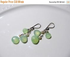 18% discount Spring Sale Green chalcedony cascade earrings - multi-gemstone dangle earrings, sterling silver earrings with green chalcedony,