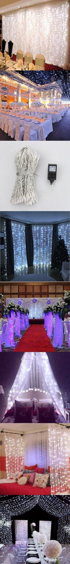 DLPIN Safe Low Voltage 24V 300LED with ETL Plug Window Curtain String Lights 8 Modes Setting for Wedding Party Christmas Garden Home Decoration 9.8FT - White