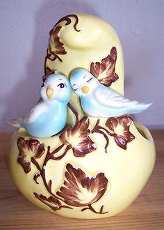 Vintage Conrad California art pottery gourd shaped love bird planter
