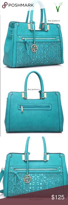 Spotted while shopping on Poshmark: 🆕NWT turquoise lazer cut satchel w/strap! #poshmark #fashion #shopping #style #Segolene Paris #Handbags