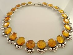 Taxco silver & amber necklace