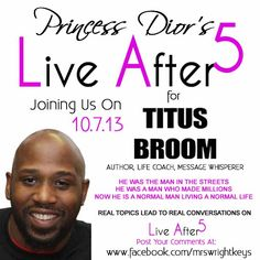 Author Titus Broom visits Live After 5 with Princess Dior.