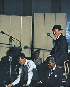 """Dean Martin, Sammy Davis Jr., Frank Sinatra in the studio to record """"Me and My Shadow"""" & """"Sam's Song,"""" 1962"""