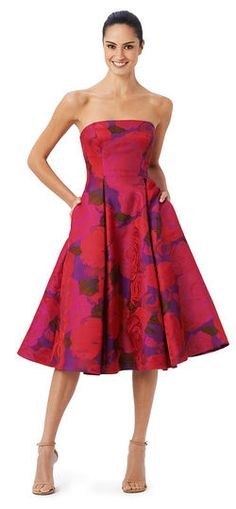 Adrianna Papell | Floral Midi Jacquard Fit and Flare Dress