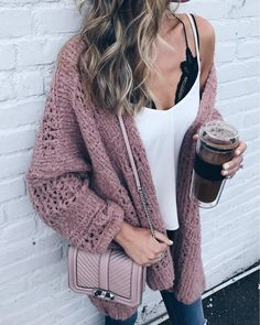 chunky rose knit cardigan | fall fashion | casual style | pink fashion
