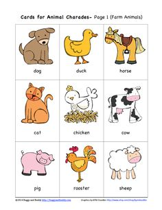 Animal charades farm animals teach english to kids, teaching english, Farm Animals Preschool, Animal Activities For Kids, Preschool Learning, Animals For Kids, Preschool Activities, Teaching Kids, Zoo Animal Crafts, English Games For Kids, Learning English For Kids