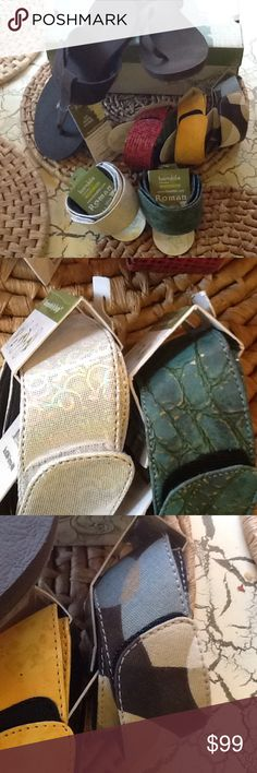 Sandals by Bandals  ROMAN style,SIX bands included These sandals are brand new with tags, BANDALS interchangeable sandals are true orthotic footwear. Great for your feet, arch support and heel cushion IN A SANDAL FINALLY!  This style in sizes 6-11, limited stock...last pair of size 10! Assorted bands, first come, first choice! Bandals Shoes Sandals