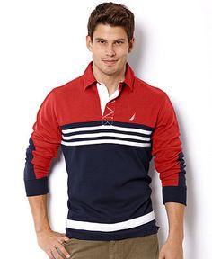 Nautica Shirt, Long Sleeve Colorblock Rugby Shirt - Macy's