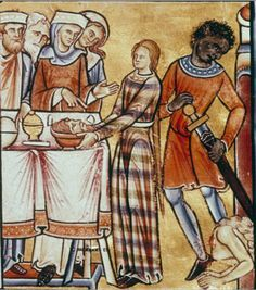 """medievalpoc: """" Anonymous Illuminator The Beheading of John the Baptist Canterbury, England (c. 2 sup v : Twelve scenes from the Old Testament: Beheading of John the Baptist (last scene in the lower register). Medieval World, Medieval Art, Medieval Fashion, Medieval Clothing, 14th Century Clothing, Medieval Pattern, Medieval Paintings, Art History, Asian History"""