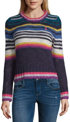 a49c56433 U.S. Polo Assn. Long Sleeve Crew Neck Stripe Pullover Sweater-Juniors