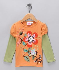 Take a look at this Orange & Green Layered Tee - Toddler & Girls by Chatti Patti on #zulily today! Aborable layered with a skirt and skinny jeans + flats