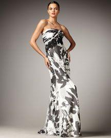 Carmen Marc Valvo Floral-Print Strapless Gown $1025