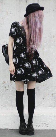 Motel tiara babydoll dress in sun moon stars print