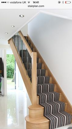 Terrific Absolutely Free Carpet Stairs stripy Thoughts One of the fastest ways t Modern Staircase Absolutely Carpet fastest Free Stairs stripy Terrific thoughts ways Timber Staircase, New Staircase, Oak Stairs, Stair Handrail, Wooden Staircases, Wooden Stairs, Modern Staircase, House Stairs, Carpet Stairs