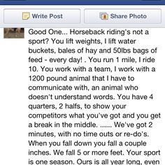 Whoever said riding isn't a sport, doesn't know what it takes