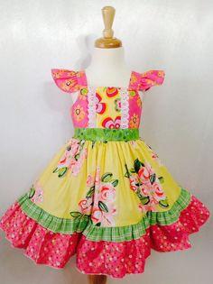 Girl Dress Size 4; Carnaval; Handmade; Everyday Use; All Seasons; 100 % Cotton #Handmade #DressyEverydayHoliday