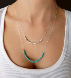 Silver Multi Strand Turquoise Necklace  by GlassPalaceArts on Etsy, $46.00