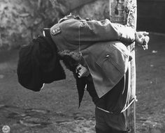 Dostler's body immediately after the rounds of the firing squad have struck. German General Anton Dostler was sentenced to die because he had ordered the execution of 15 uniformed U.S. commandos in Italy. He was the first German general to be executed by a U.S. Army firing squad on December 1, 1945.