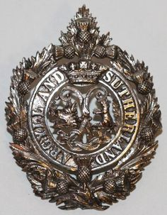 ARGYLL & SUTHERLAND HLDRS OFFICERS EDINBURGH 1939 H/M CAP BADGE  by Scoot Adie Ltd. London