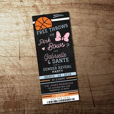 Basketball Gender Reveal invitation, Free Throws or pink bows gender reveal part. Basketball Gender Reveal invitation, Free Throws or pink bows gender reveal party ticket, he or she Pink or Blue High Quality printable file - offenbaren Ideen Basketball Gender Reveal, Basketball Baby Shower, Gender Reveal Box, Gender Reveal Themes, Baby Gender Reveal Party, Gender Party, Gender Reveal Invitations, Invitation Ideas, Shower Invitations