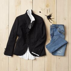 Ruffle feathers in our favorite fall trend: military jackets. #OOTD