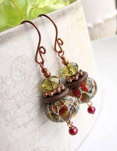 Lampwork Earrings Holiday Earrings Fall Earrings by beachjewels72, $26.00