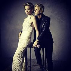 gorgeous couple! stunning photograph of portia de rossi and ellen degeneres: | 24 stunning portraits from the vanity fair oscar party