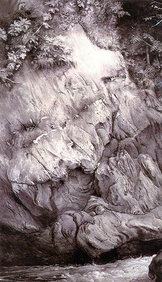 Study of Gneiss Rock by John Ruskin--Pen and Ink Wash on China ink paper. What the heck. Pen And Wash, Ink Wash, Landscape Drawings, Landscape Paintings, Landscapes, John Ruskin, Landscape Elements, Pre Raphaelite, Victorian Art