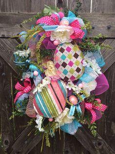 Easter - Spring Wreath, Easter - Spring Swag, Pink & Blue Egg Hunt on Etsy, $94.00