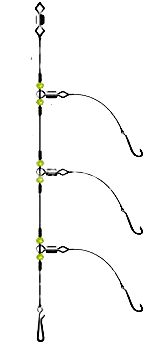 The three hook flapper rig, best for catching smaller fish close in in the surf.
