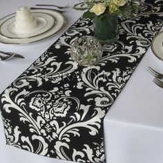 Traditions White Damask on Black Table Runner. $12.00, via Etsy.