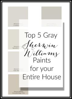 Top Gray Paints For Your Home - The Hamm Homestead Top 5 Sherwin Williams Gray paint colors. These colors are the perfect base for your entire home. Neutral on the wall and add color with accesories. Top Paint Colors, Greige Paint Colors, Paint Colors For Living Room, Interior Paint Colors, Paint Colors For Home, House Colors, Bedroom Colors, Interior Plants, Cafe Interior