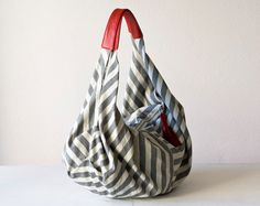 Shoulder bag , hobo purse , slouch bag  in  stripe cotton canvas and Red leather - Kallia bag