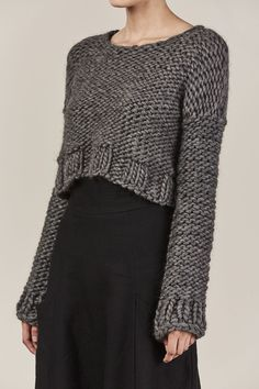 The Wool Crop Sweater in gray by Hand knit with Peruvian Wool. Super soft and warm. Cropped Sweater Outfit, Sweater Outfits, Bolero Sweater, Black Moon, Hand Knitted Sweaters, Mode Inspiration, Slow Fashion, Black Sweaters, Hand Knitting