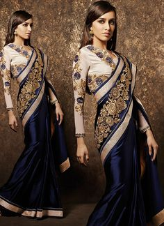 Shraddha Kapoor Blue Pure Satin Saree