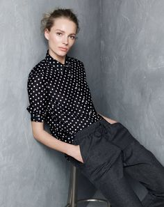 J.Crew women's polka-dot voile shirt, and drapey wool sweatpant.  I have this shirt. Can I pull it off buttoned to the top?