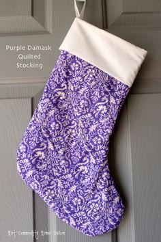 Purple Damask Quilted Christmas Stocking by HotCommodityHome, $27.00