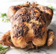 The Juiciest Garlic Rosemary Roasted Chicken. Perfect recipe for family dinner. Herb butter rubbed, super moist chicken with crispy skin. Thanksgiving Recipes, Fall Recipes, Thanksgiving 2020, Rosemary Roasted Chicken, Rosemary Herb, Roasted Garlic, Meat Recipes, Chicken Recipes, Potted Meat Recipe