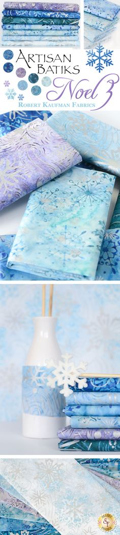 Artisan Batiks: Noel 3 by Lunn Studios for Robert Kaufman Fabrics is a new icy blue batik collection available at Shabby Fabrics.