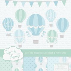 Blue & Mint Hot Air Balloons Clipart with Digital Papers