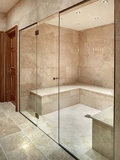 Benefits of Bespoke Glass Walls for a Steam Enclosure or Sauna Home Steam Room, Sauna Steam Room, Steam Bath, Sauna Room, Steam Room Shower, Sauna A Vapor, Private Sauna, Steam Shower Enclosure, Sauna House
